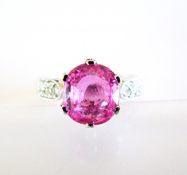 Natural Pink Sapphire Diamond Ring 3.41Ct 14k 14k W/g