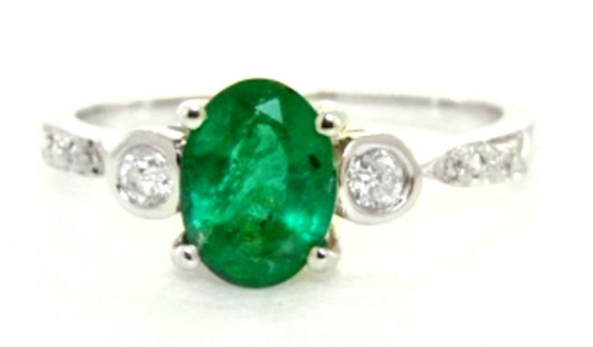 Anniversary Emerald Diamond Ring 1.49Ct 14k W/g