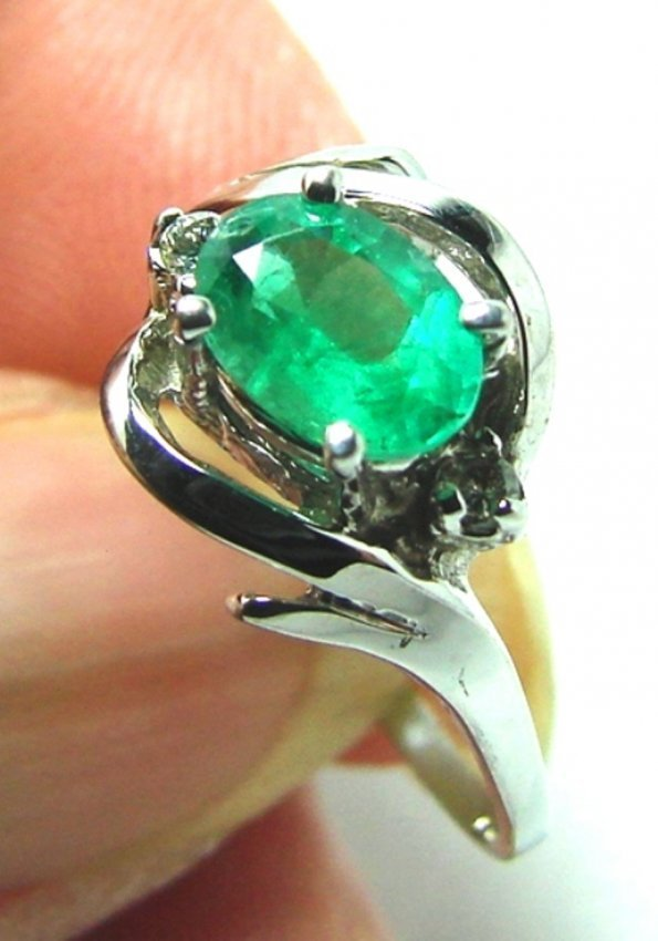 Anniversary Emerald Diamond Ring 1.27Ct 14k W/g