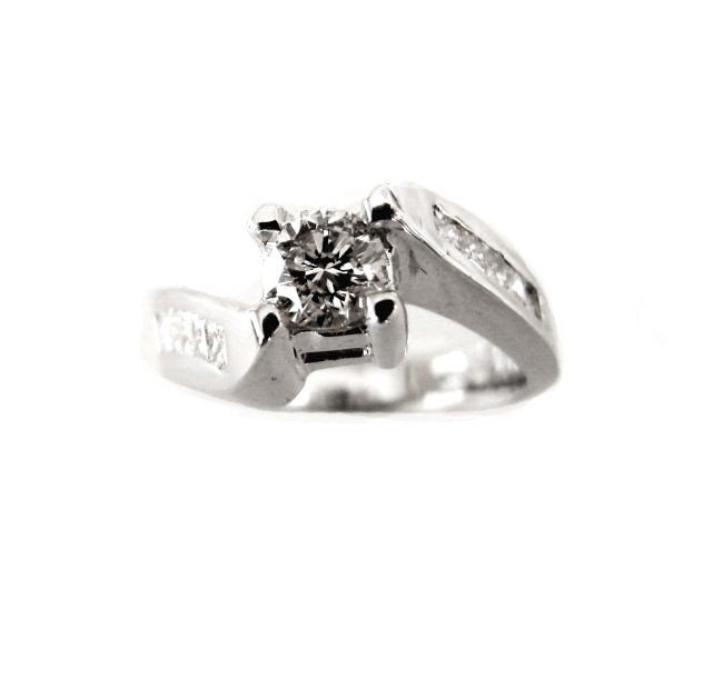 Engagement Ring Diamond: 1.43 Carat 14K White Gold