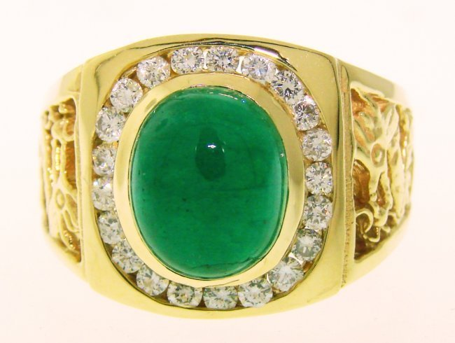 Men Ring Emerald Diamond  4.60Ct 14k Y/g