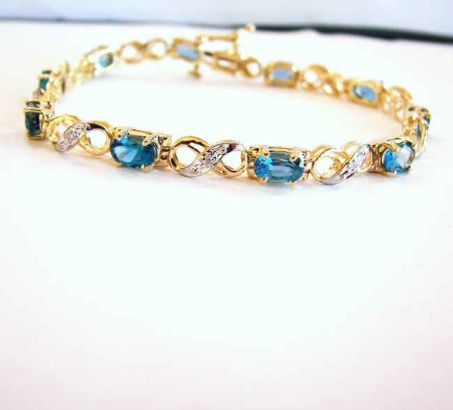 London Blue Topaz Diamond Bracelet 8.62Ct 14k Y/g
