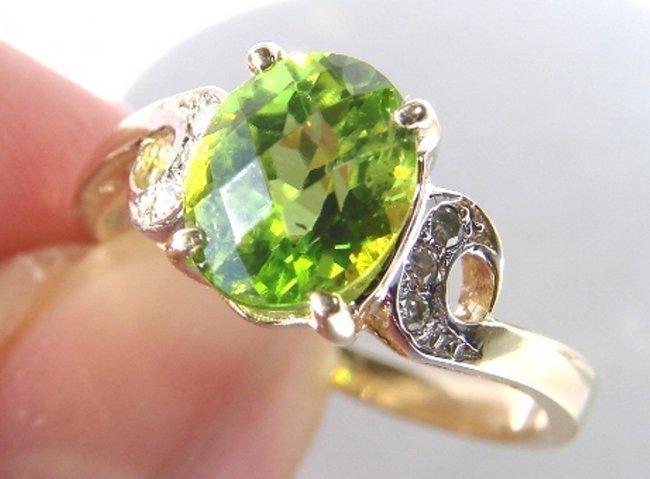Anniversary Peridot Diamond Ring 1.67Ct 14k Y/g