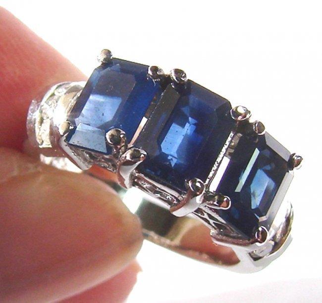 Anniversary Blue Sapphire Diamond Ring 4.85Ct 14k W/g