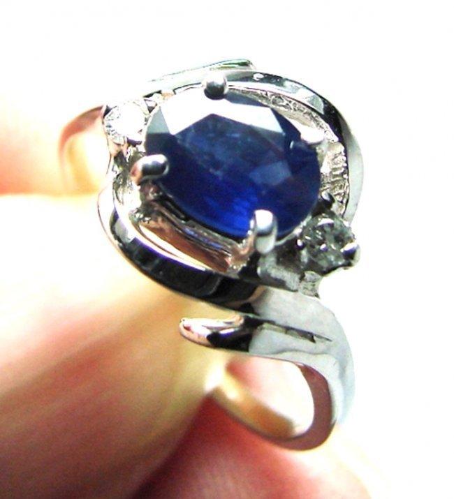 Anniversary Blue Sapphire Diamond Ring 1.36Ct 14k W/g