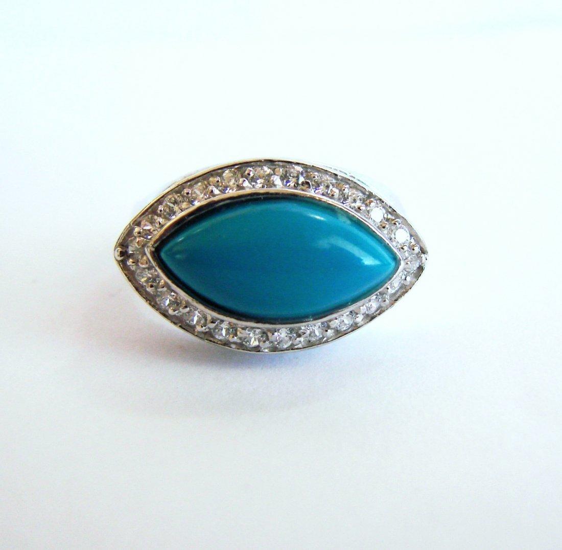 Creation Diamond Turquoise  Ring 4.60Ct 18k W/g Overlay