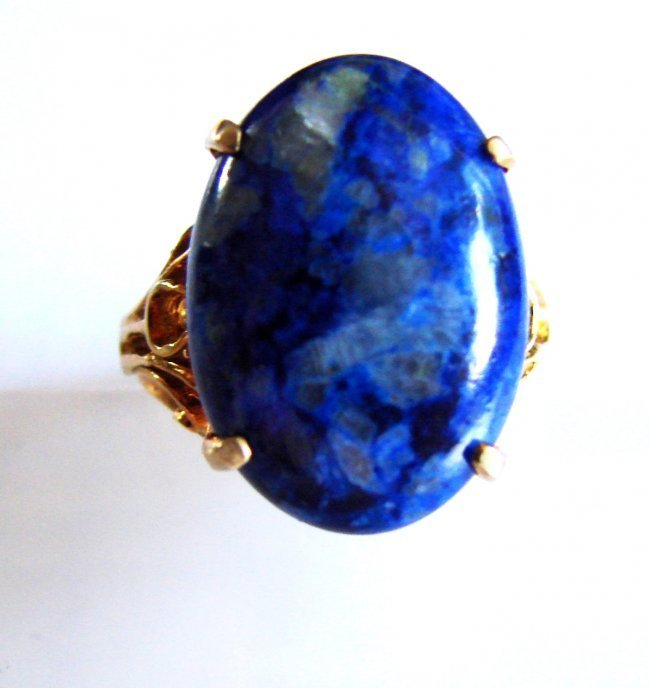 Natural Blue Lazuli Oval Cabochon Ring 17.85Ct 14k Y/g