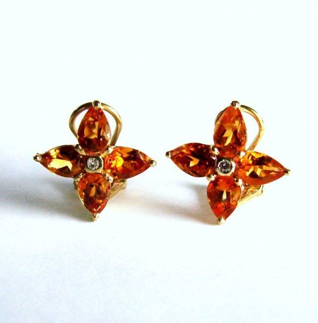 Golden Citrine Diamond Star Earrings 5.24Ct 14k Y/G