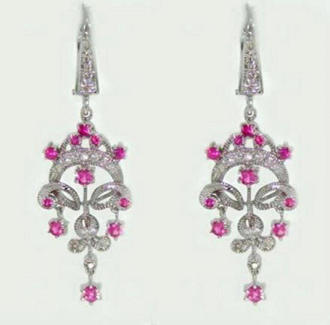 Pink Sapphire Diamond Chandelier Earring 1.47Ct 14k W/g