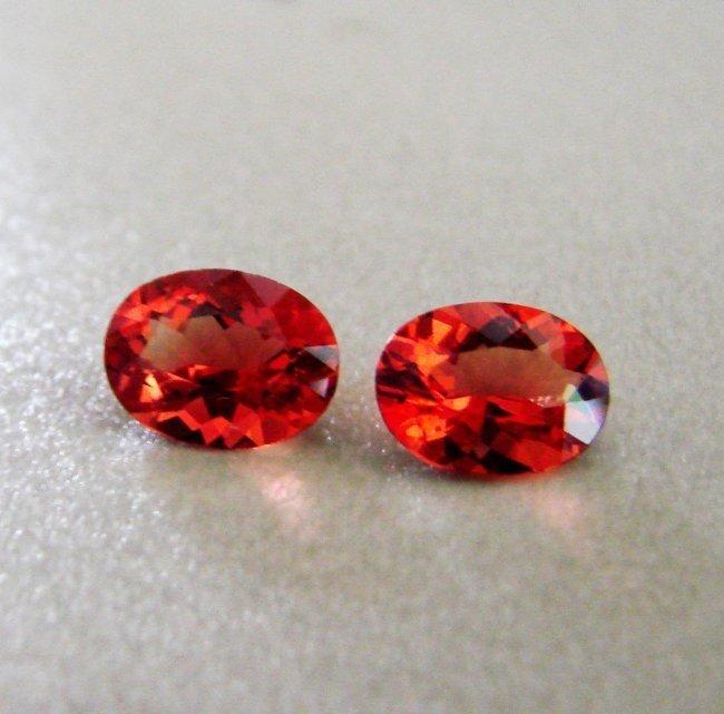 Natural Hessonite Garnet Oval Cut Pairs 2.08Ct 8x6x4mm