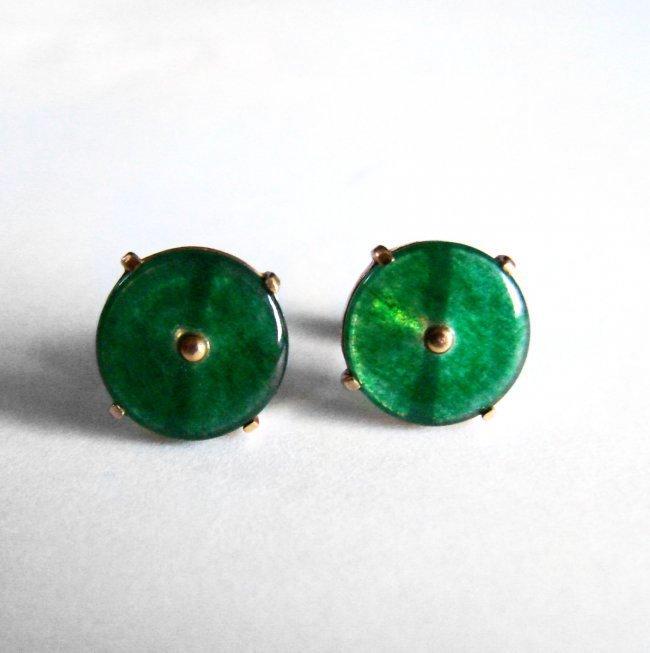 Natural Jade Jadeite Stud Earrings 2.55Ct 14k Y/G