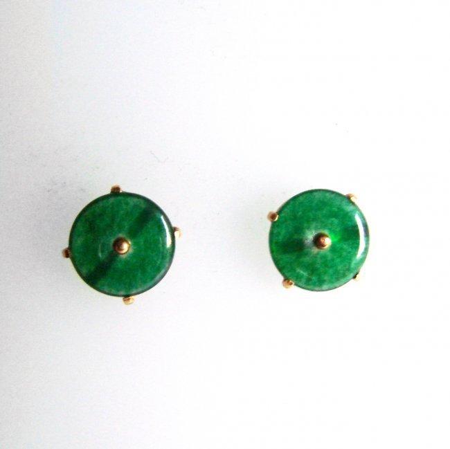 Natural Jade Jadeite Stud Earrings 2.55Ct 14k Y/G - 2