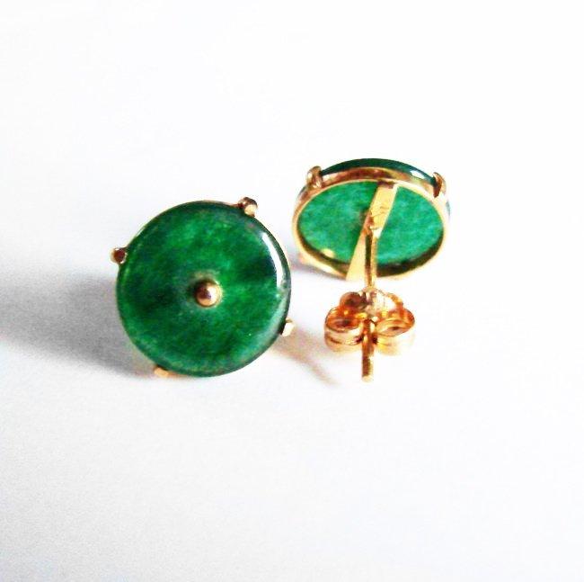 Natural Jade Jadeite Stud Earrings 2.55Ct 14k Y/G - 3