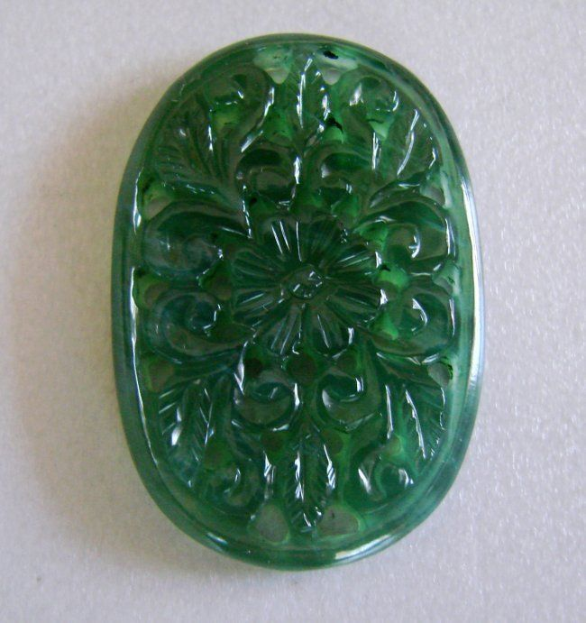Natural Green Serpentine Caved Oval Shape 32.64Ct