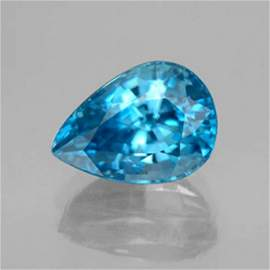 Natural Blue Zircon Pear Cut 4.04Ct 10.2x7.5x5.5 mm