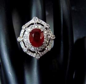 Ring Natural Ruby Diamond 5.61Ct 14k Two-Tone
