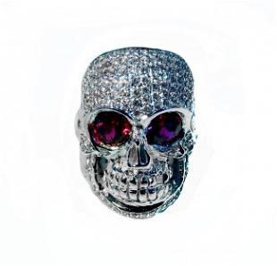 Man's Skull Diamond/Ruby Ring 2.88CT 14k W/G