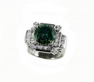 Enhanced Blue /White Diamond Ring 5.73CT 14K W/G