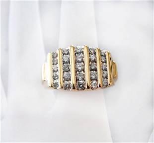 Man's Diamond Ring 1.04Ct 14k Yellow Gold Size: 8