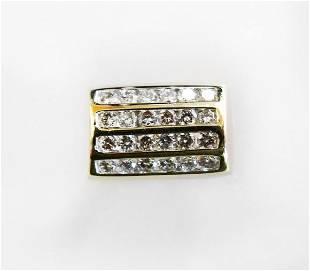 Man's Diamond Ring 1.55Ct 14k Yellow Gold Size: 8