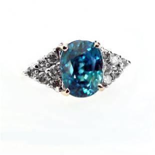 Natural Blue Zircon Diamond Ring: 5.84Ct 14k Y/g