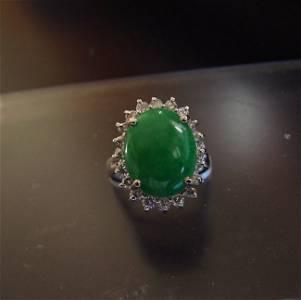 Anniversary Ring Chinese Jade Diamond 7.95Ct 14k W/g