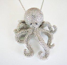 Creation Diamond Octopus Pendant 4.42ct 18k W/g Overlay