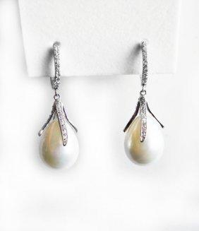 Tear Drop Swarovski Pearl Earrings 13.8 Mm 18k W/g Over