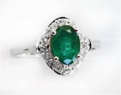 Ring Natural Columbia Emerald Diamond 1.25Ct 14k W/g