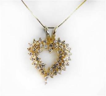 Heart Shaped Diamond Necklace 1.25 Carat 14k Y/G