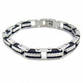 Blackplated Stainless Steel Striped Men?s Bracelet