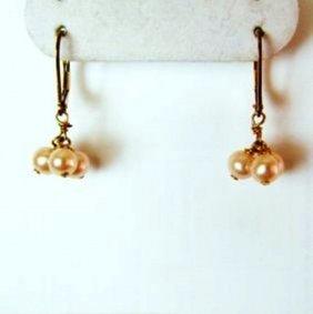 Natural Culture Pearl Earrrings 18k Y/g Filled