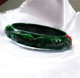 Natural Jade Carved Ruyi Imperial Bangle Grade A