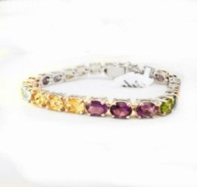 Bracelet Multicolor Stones 27.60ct 18k W/g Overlay