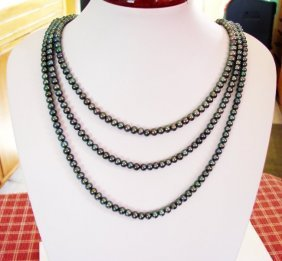Natural Culture Pearl Black Color 6.5 Mm Necklace