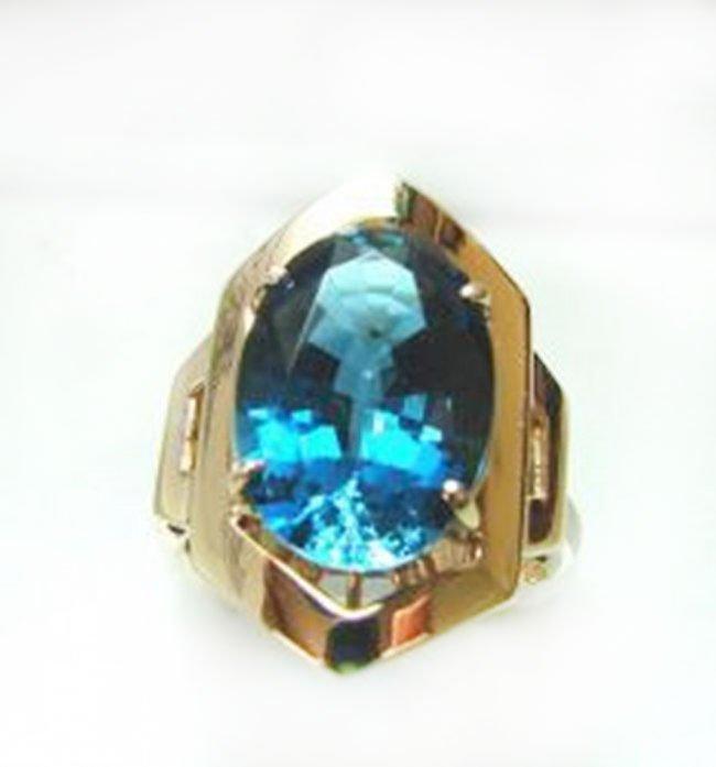 Ring Natural London Blue Topaz 6.84Ct 14k Y/g