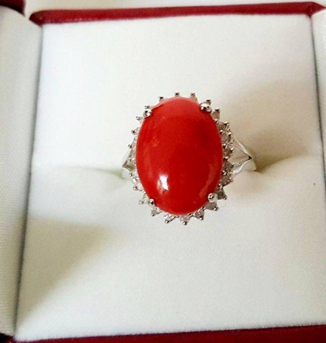 Anniversary Ring Diamond Red Coral 6.46Ct 14k W/g