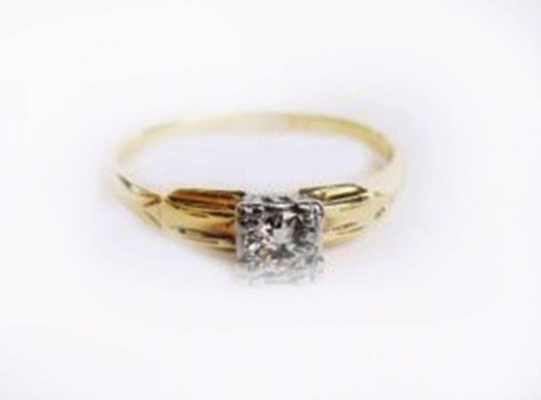 Solitaire Engagement Diamond Ring .42 Carat 14k Y/g