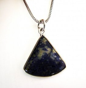 Natural Lapis Lazuli Pendant 23ct 18k W/g Overlay
