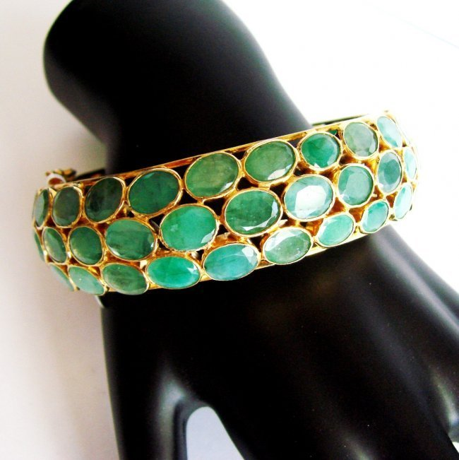 Bangle Natural Emerald 136.12Ct 18k Y/g Overlay