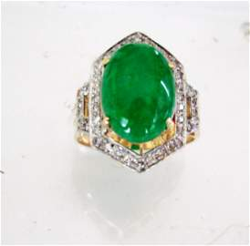Diamond Jadeite Jade Ring 5.24Ct 14k Y/g -Sz 7
