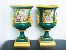 2 Vintage Italian Limoges Maroon Fragonard Porcelain