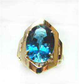 Ring Natural London Blue Topaz 6.84Ct 14k Y/g