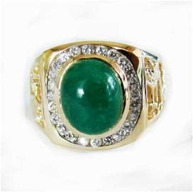 Men Ring Emerald Diamond 4.62Ct 14k Y/g
