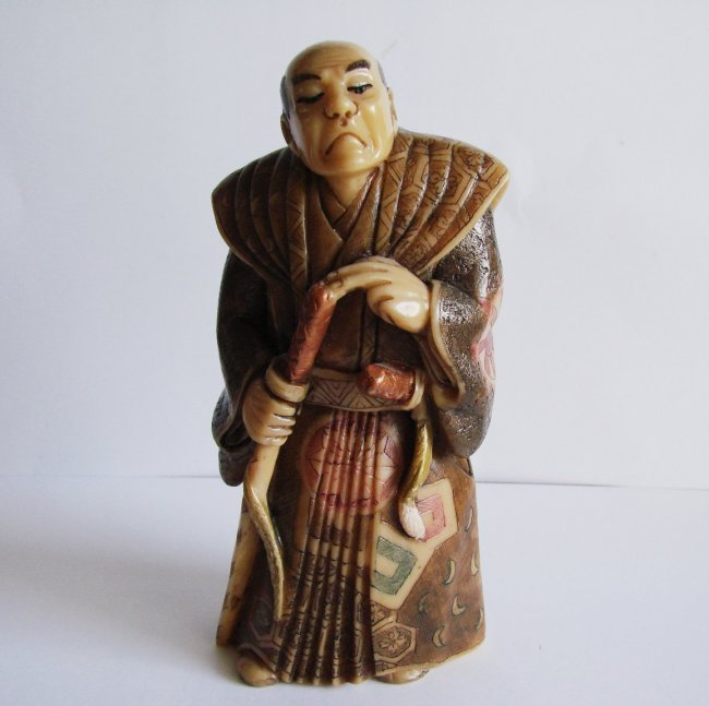 "Japanese Samurai Bones Carved H 5""x W 2.25""x Thic1.75"""
