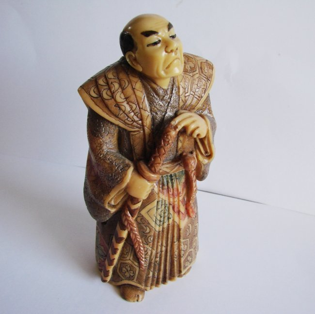 "Japanese Samurai Bones Carved H 5""x W 2.25""x Thic1.75"" - 2"