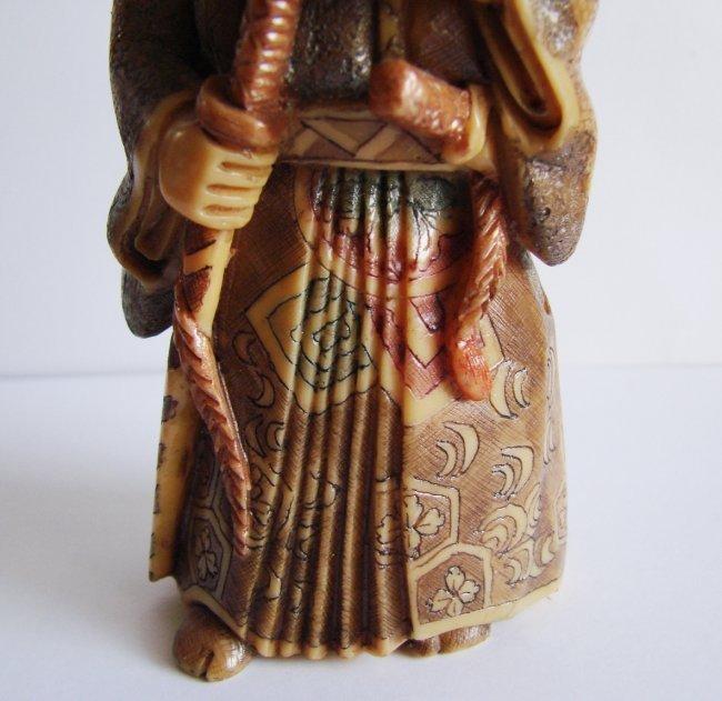 "Japanese Samurai Bones Carved H 5""x W 2.25""x Thic1.75"" - 8"