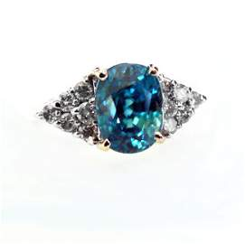 Natural Blue Zircon Diamond Ring: 5.84Ct 14k Y/g
