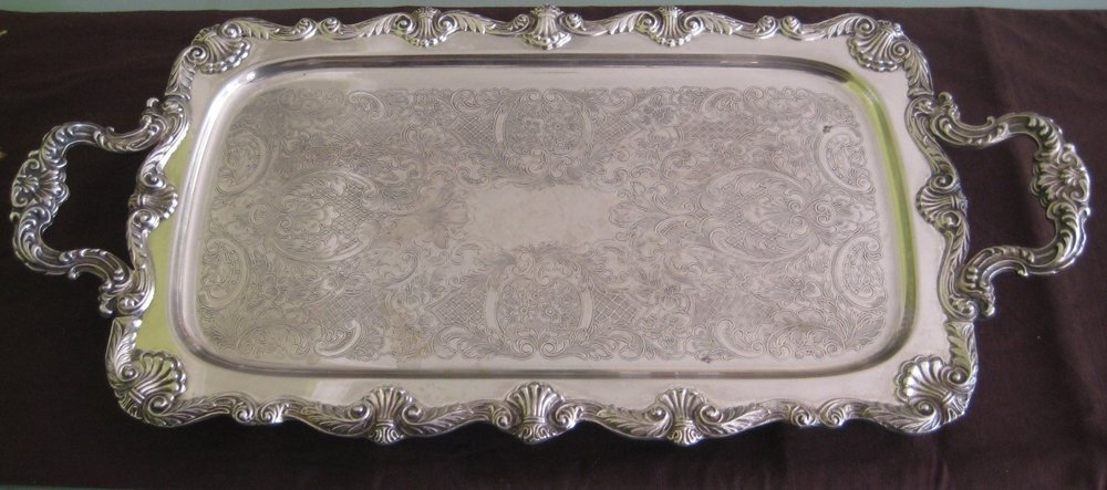 LARGE SILVERPLATE ENGLISH SILVER MFG CO FOOTED TRAY