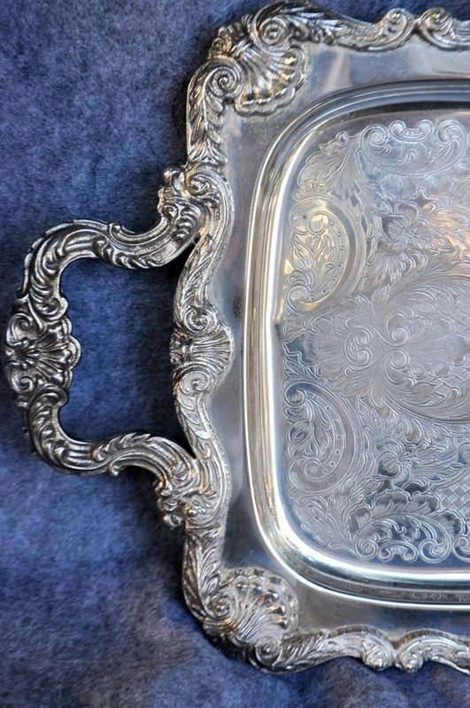 LARGE SILVERPLATE ENGLISH SILVER MFG CO FOOTED TRAY - 2